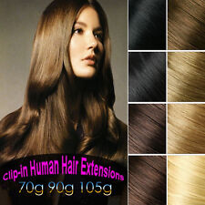 90g 105g Virgin Remy Clip In 100%Real Human Hair Extensions Hair piece Clips On