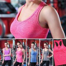 Women Stretch Gym Yoga Athletic Vest Sports Bustier Tank Workout Top Tee Fashion