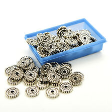 100pcs Tibet Silver Loose Spacer Beads Charms Jewelry Making Findings Beads QW