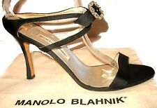 Womens AUTHENTIC Manolo Blahnik Crystal FAB Shoes Black Satin Size 41/11 $965.00