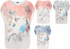 Womens Plus Chiffon Butterfly Top Ladies Printed Lined Short Cap Sleeve Baggy