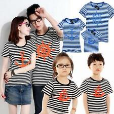 Summer Family Short Sleeve Stripe T-shirt Tops Father Mother Baby Blouse Clothes