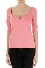 BALENCIAGA women new pink short sleeves blouse heart neck made in italy