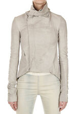 RICK OWENS Women Beige Leather Zipped NASKA BIKER Jacket New with Tag