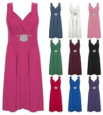 WOMENS LADIES SLEEVELESS STRETCH CROSSOVER TIE BACK WRAP BUCKLE DRESS PLUS SIZE