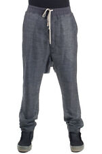 RICK OWENS Man New Black DRAWSTRING LONG Linen silk blended trousers Italy made