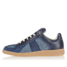MARTIN MARGIELA MM22 Men Blue Leather and Fabric Sneakers Italy Made