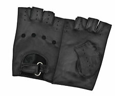 LEATHER FINGERLESS DRIVING GLOVES BUCKLE POLICE WEIGHT WHEELCHAIR & BIKERS