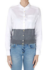 MARC BY MARC JACOBS Women New Cropped Blouse Shirt with Gray Knitted Insert