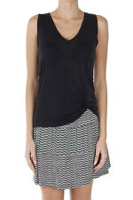 GUCCI Women New Black Silk V-Neck SHINY WASH LIGHT Sleeveless Top Made in Italy