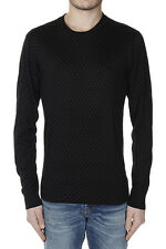 DOLCE & GABBANA Men New Black Silk Polka Dot Patterned Sweater Pullover Made Ita
