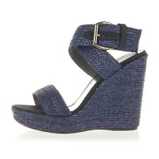 STUART WEITZMAN Women Blue Fabric Wedge ENCORE Sandals New with Tag
