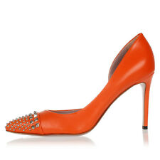 GUCCI Women Orange Studded Leather Pumps MALAGA KID Made in Italy NEW