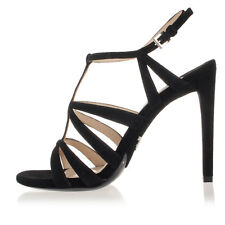PRADA Women Black Suede Cage Sandals Shoes Heel Made in Italy NWT $659