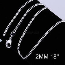 """Vogue Wholesale lots 925 Silver Plated 2MM Rolo Curb Chain Necklace 16""""-24"""" Hot"""