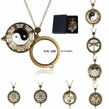Retro Gold 5X Magnifying Glass Dragonfly/Owl/Yinyang Pendant Necklace With Box