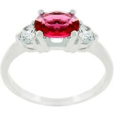 Oval Cut Garnet Cubic Zirconia Birthstone Ring     SZ  5 - 10