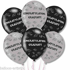 6 Congratulations Graduate Graduation Party Grey Black Printed Latex Balloons