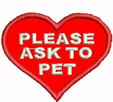 Ask To Pet Patch Service Dog Patch Heart Shaped Dog Vest Patch Red White