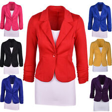 Plus Size Womens Casual Long Sleeve Candy Color Business Work Suit Blazer Jacket