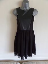 TOPSHOP OH MY LOVE BLACK LEATHER CHIFFON CUT OUT SIDE DETAIL SKATER DRESS - SIZE