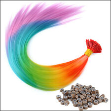 20-100pc Rainbow Colorful Synthetic Feather Grizzly I-Tip Hair Extensions &Beads