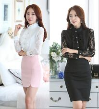 Women Elegant OL Career Lace Chiffon Shirt Collar Long Sleeve Blouse Tops Autumn