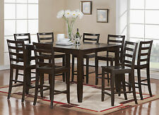 FAIRWINDS DINETTE COUNTER HEIGHT TABLE DINING SET WITH WOOD SEAT CAPPUCCINO