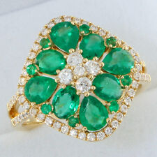 18ct Gold 1.94ct Emerald & Diamond Cluster Ring WITH GEM CARD RRP £2425 BLG134
