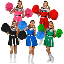 LADIES CHEERLEADER COSTUME AND POM POMS ADULT CHEER LEADER UNIFORM HIGH SCHOOL