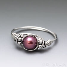Magenta Pink Pearl Bali Sterling Silver Wire Wrapped Bead Ring