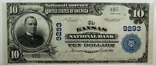 1902 $10 National Currency Uncirculated Kansas Illinois CH# 9293 - WW
