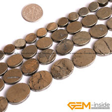 "Natural Grey Pyrite Gemstone Oval Flat Slab Sliced Beads Strand 15""8mm 10mm 12mm"
