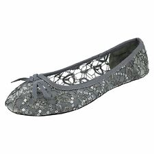 Ladies Spot On Casual Flat Sequin Dolly Shoe Label-F80085