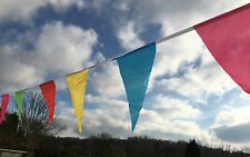 36ft Carnival Bunting 40 Large multi colour triangular fabric flags or sample