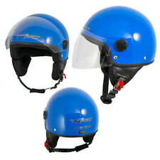 Open Face Jet Helmet Moped Motorbike Scooter Antiscratch Visor Blue
