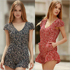 Womens Holiday Print Mini Playsuit Ladies Jumpsuit Summer Romper Shorts Beach