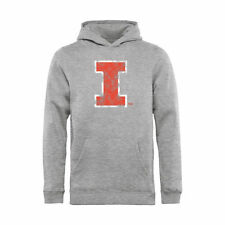 Illinois Fighting Illini Youth Ash Classic Primary Logo Pullover Hoodie