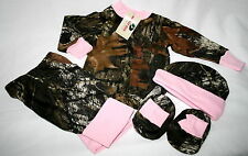 MOSSY OAK CAMO & PINK 4PC BABY INFANT SNAP UP DIAPER SHIRT GIFT SET - GIRL