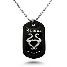 TAURUS Zodiac Sign Aluminum Dog Tag Necklace 24 Inches Made in USA