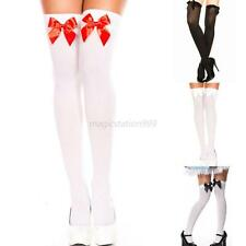 Women Over Knee Top Bowknot Long Socks Skinny Breathable Thigh High Stockings