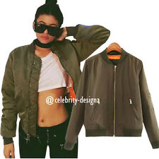 jk57 Celebrity Fashion Lookbook Womens Fashion Flight Bomber Jacket in Khaki