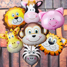 Jungle Animal Face Foil Balloon Kids Zoo Farm Party Favor Supply Props Gifts