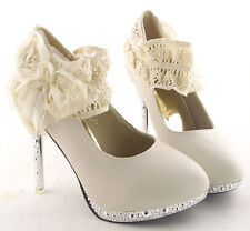 Flowers Ivory Bridal Wedding High Heels Women Evening Party Shoes