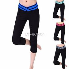 Womens Sports Workout Gym Athletic Legging Pants Mid Waist Running Yoga Trousers