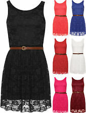 New Womens Lace Lined Belted Ladies Sleeveless Short Mini Dress Top
