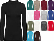 New Ladies Turtle Neck Long Sleeved Stretch Plain Polo Top Womens Jumper