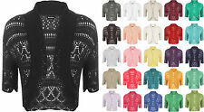 New Womens Crochet Knit Ladies Short Sleeve Crop Shrug Bolero Cardigan Top