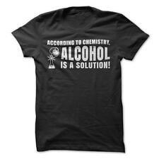 Alcohol Is A Solution - Funny T-Shirt Short Sleeve 100% Cotton Chemistry Humor
