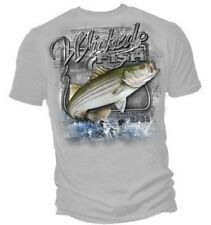 Fishing Tshirt Wicked Fish Striped Bass Hook Wild Fresh Salt Water Angler Catch